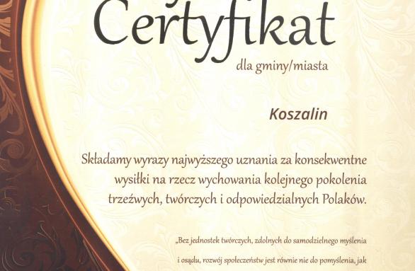 Dyplom Trzeźwy Umysł dla Miasta Koszalina