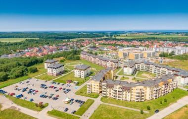 Zdjęcie przedstawia Osiedle Unii Europejskiej z lotu ptaka