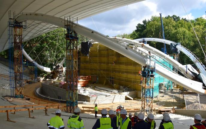 Na zdjęciu Amfiteatr w Koszalinie w trakcie budowy - na dzień 10.09.2020