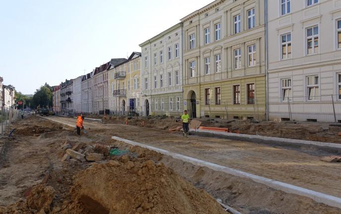 Na zdjęciu remontowana ul. Piłsudskiego Koszalin