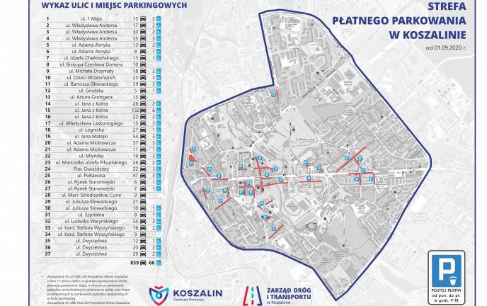 Mapa Strefy Płatnego Parkowania w Koszalinie