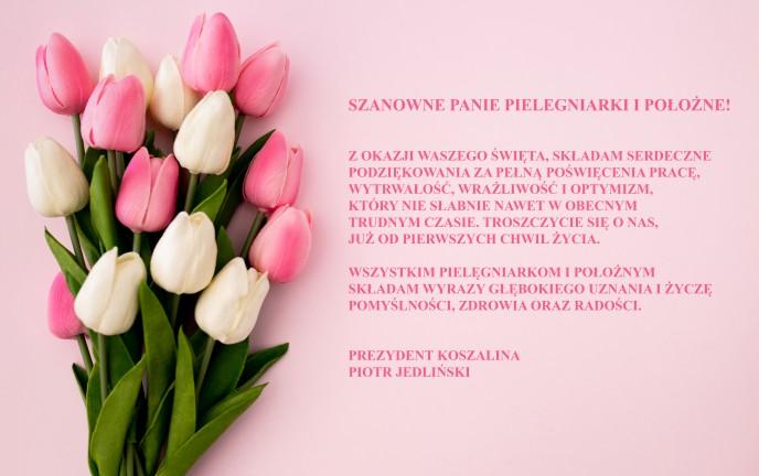 Na zdjęciu tulipany na różowym tle z życzeniami