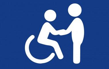 graficzna prezentacja ukazująca osobę niepełnosprawną ściskająca sobie dłoń z osobą pełnosprawną