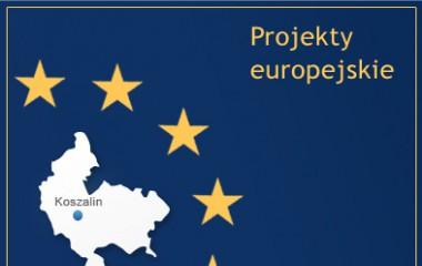 Zdjęcie z napisem Projekty Europejskie przedstawiające na granatowym tle mini mapę Koszalina wraz z gwiazdami Unii Europejskiej