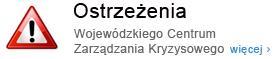 Przejdź do: Ostrzeżenia Wojewódzkiego Centrum Zarządzania Kryzysowego